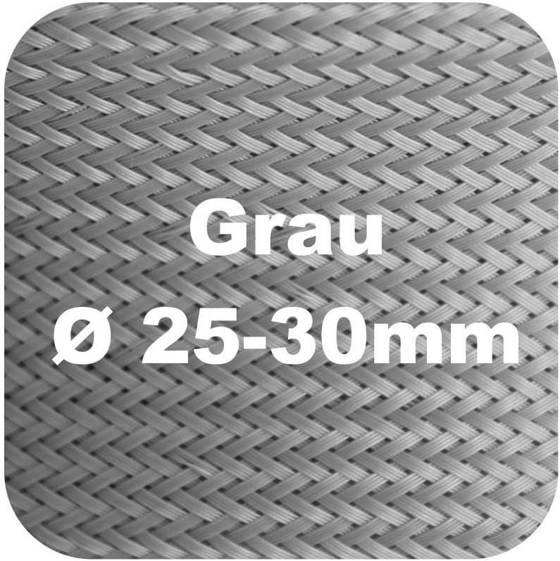 25-30 grau /Ø 30-35mm 5m Flex Kabelschutz Kabelschlauch Geflechtschlauch Klettverschluss Gewebeschlauch Klett in schwarz oder grau /Ø 15-17 30-35mm 20-23