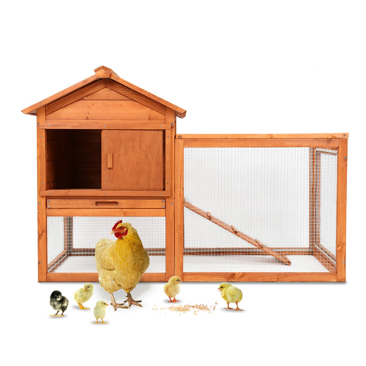Magshion Wooden Chicken Coop Rabbit Bunny Hutch Pet Cage Wood Small Animal Poultry Cage Run Indoor