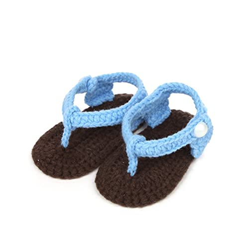 4ede57a96 Amazon.com  Aworth Baby Girls Boys Shoes Sandals Summer New Crib Crochet  Baby Girls Boys Handmade Knit Flip Flops Clip Toe Infant Shoes Blue Green  A  Shoes
