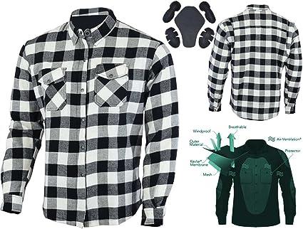Bikers Gear Australia Kevlar camisa de franela para motocicleta con armadura extraíble CE1621-1: Amazon.es: Coche y moto