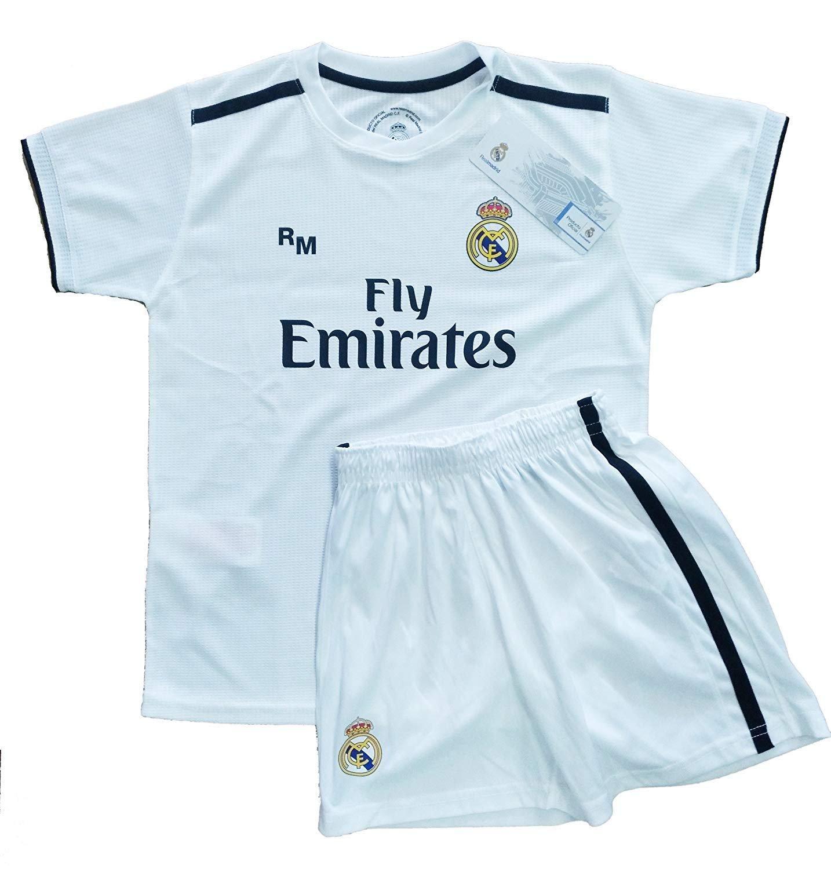 T-Shirt und Hose Set 1. Gang von Real Madrid 2018-2019 - Offizielle Replik Lizenziert - Glatter grat - Kinder Größe 0 Jahre - Messungen Truhe 22 - Gesamtlänge 35 - Langarm 10 cm.