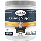 JUNGLE PET Calming Support Chewable Treats - With Chamomile Valerian Root Melatonin Passionflower - For High Energy Dogs - OP