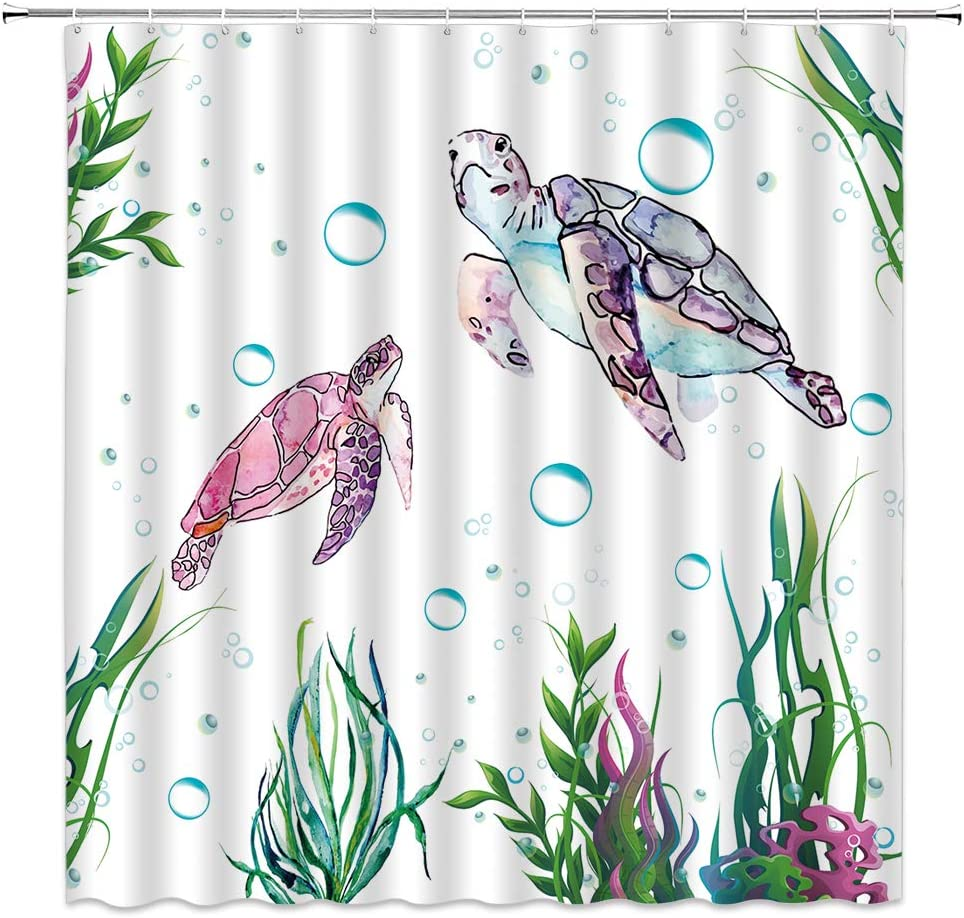 Sea Turtle Shower Curtain Vivid Cute Antique Animals Bubble Seaweed Dynamic Image Decor Watercolor Print,Fabric Bathroom Set Hooks Included 70x70 Inch,Pink Green