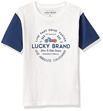 019b7eff91b0 Lucky Brand Big Boys' Short Sleeve Graphic Tee Shirt, Born to Ride White  Cloud