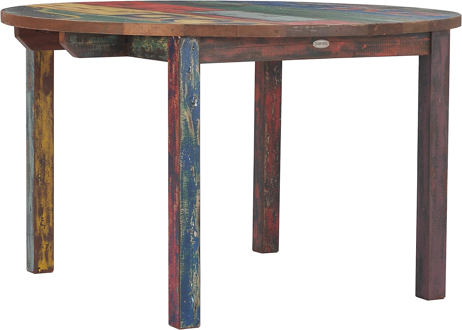 Amazon Com Round Dining Table Made From Recycled Teak Wood Boats 48 Inch Kitchen Dining
