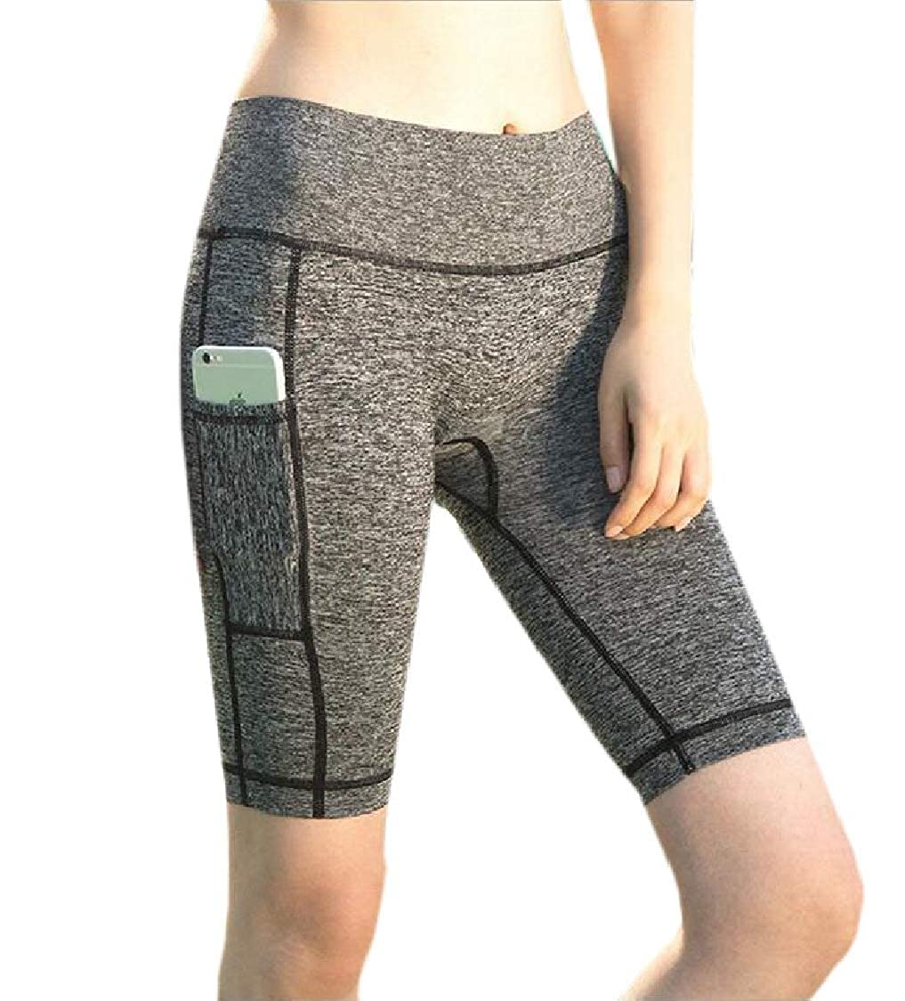 SELX Women Gym Workout Skinny Pockets Yoga High Rise Quick Drying Shorts