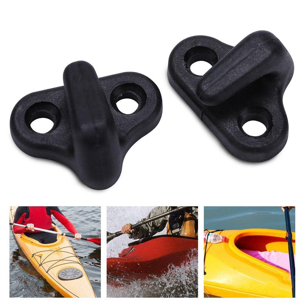 Alomejor 4Pcs//Set Kayak Lashing Hooks Nylon Kayak Lashing Replacement J Shape Hooks with Flat-Head Screws for Kayak Canoes Boats