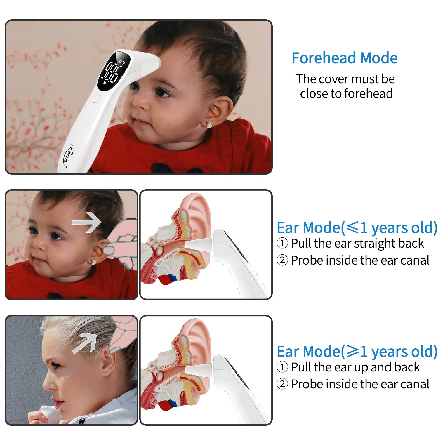 Forehead Thermometer Ideal for Baby Infrared Thermometer Adults Digital Infrared Forehead Thermometer Infants Non-Contact Digital Thermometer with Fever Alert Function