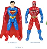JINKRYMEN Spiderman and Superman Avengers Infinity Hero Figures (Multicolour) - Pack of 2 (28cm Height)