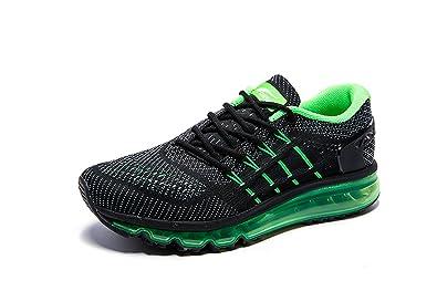 bc1b0640d87477 Onemix Air Laufschuhe Herren Straßenlaufschuhe Sneaker mit Luftpolster  Sport Turnschuhe Sportschuhe Schwarz Grün Size 39 EU