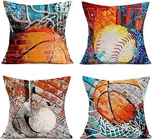 "Tlovudori Popular America Sport Ball Decor Throw Pillow Covers Vintage Basketball Softball Graffiti Wall Cotton Linen Pillow Case Outdoor Cushion Case Cover for Couch Liveroom 18""x18"" (PA-Sport)"