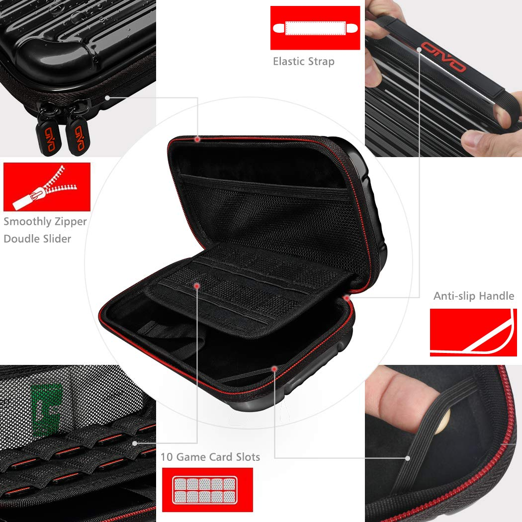 OIVO Carrying Case for Nintendo Switch, Deluxe Protective Travel Carry Case&Storage with Soft Velours Pouch for Nintendo Switch Consol & Accessories (Grey) by OIVO (Image #7)