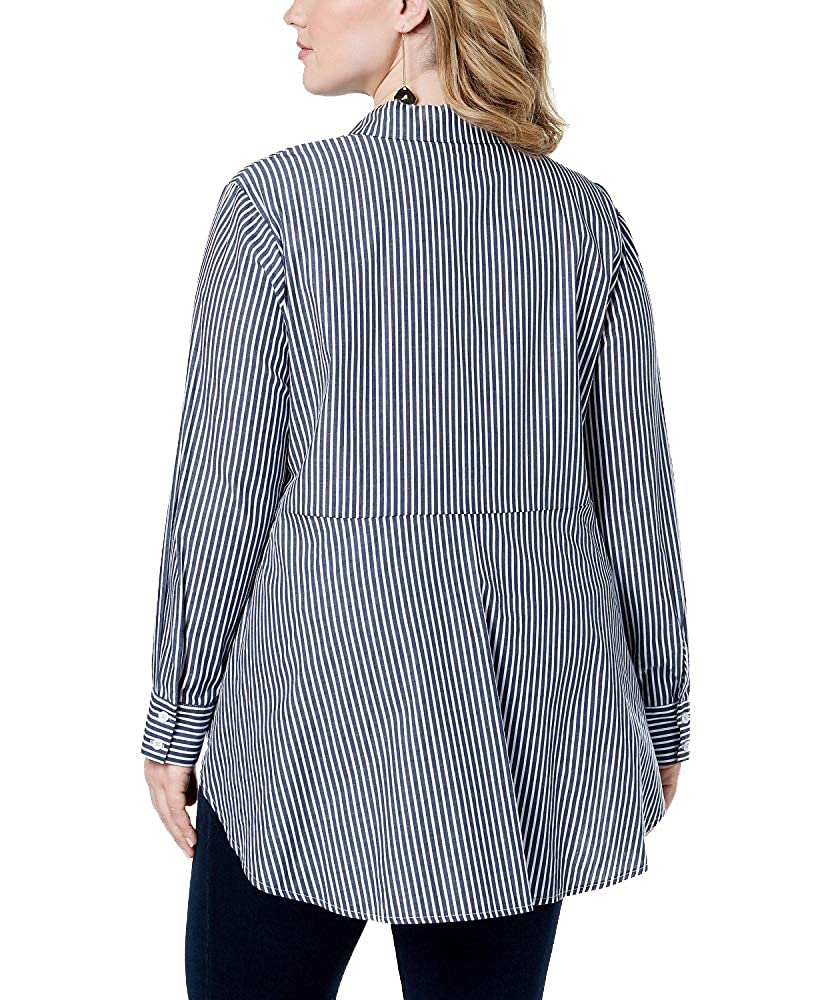 Say What Trendy Plus Size Cotton Striped Peplum Button-Front Shirt