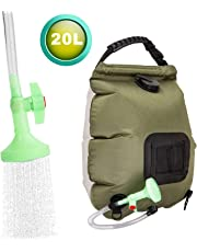 FeChiX Solar Shower Bag for Camping 5 Gallons/20L Summer Shower Bag with Removable Hose and On-Off Switchable Shower Head Outdoor Shower Bag for Beach Swimming Outdoor Traveling Hiking