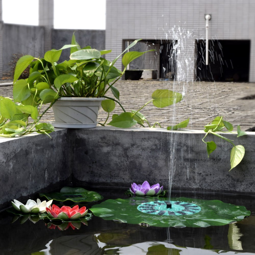Anself Solar-power Lotus Leaf Fountain Pond Brushless Water Pump with Monocrystalline Solar Panel by Anself (Image #3)