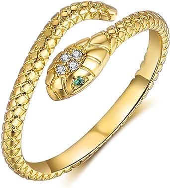 YBMYCM خواتم مفتوحة قابلة للتعديل ثعبان القلب كريستال 18K الذهب مطلي خواتم الحيوان خواتم الذهب مجوهرات خواتم للنساء الرجال