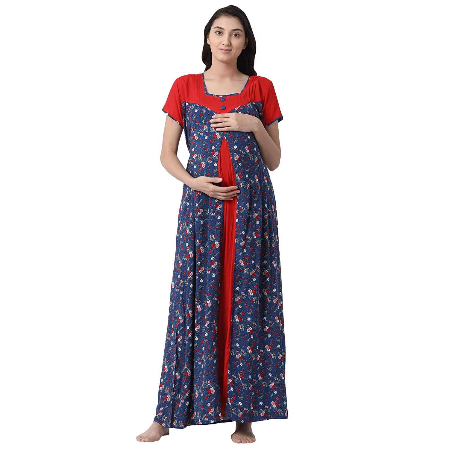 bba570b0da4 GOLDSTROMS Minelli Women's Full Length Rayon Fabric Maternity/Nursing/Feeding  Gown: Amazon.in: Clothing & Accessories