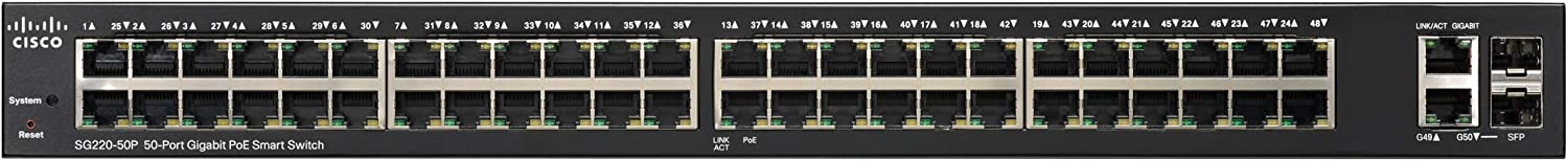 Ports with 2 Gigabit Ethernet combo mini-GBIC SFP SG220-50-K9-NA Cisco SG220-50 Smart Switch with 50 Gigabit Ethernet Limited Lifetime Protection GbE