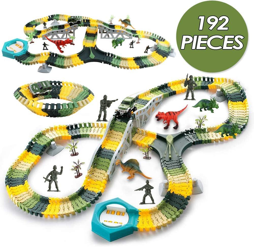 deAO 192 Piezas Vías de Tren Flexible de Dinosaurios Pista de Carreras Set de Juguetes para Coche Regalo para Niños y Niñas 3 4 5 6 Años con 1 Coche de Carreras, 3 Dinosaurios y 4 Soldados Incluidos