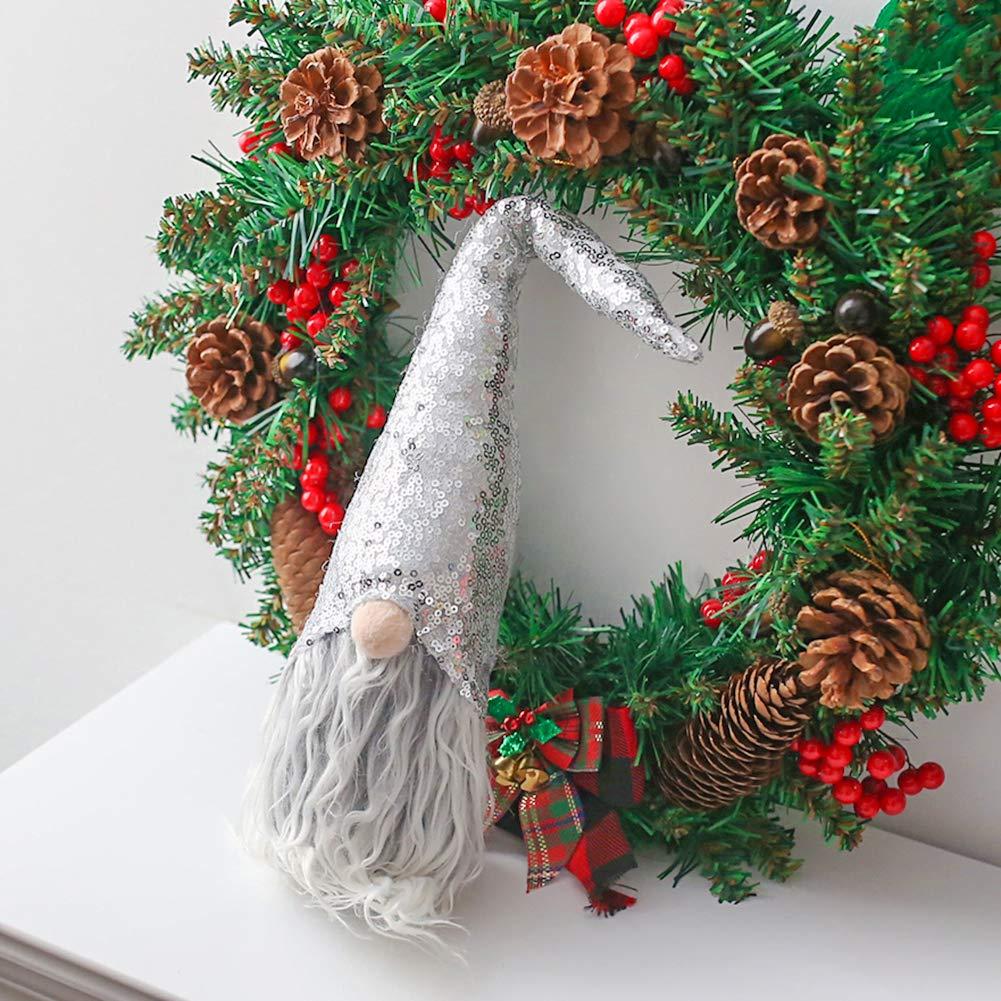 FuturePlusX Swedish Santa Gnome Plush, 1PCS Sequins Scandinavian Tomte Santa Scandinavian Gnome Plush for Christmas Santa Decoration Table Decor