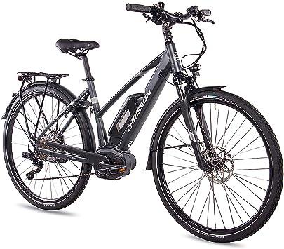 Chrisson - Bicicleta de trekking y ciudad para mujer, 28 pulgadas, E-Actourus, color antracita mate, bicicleta