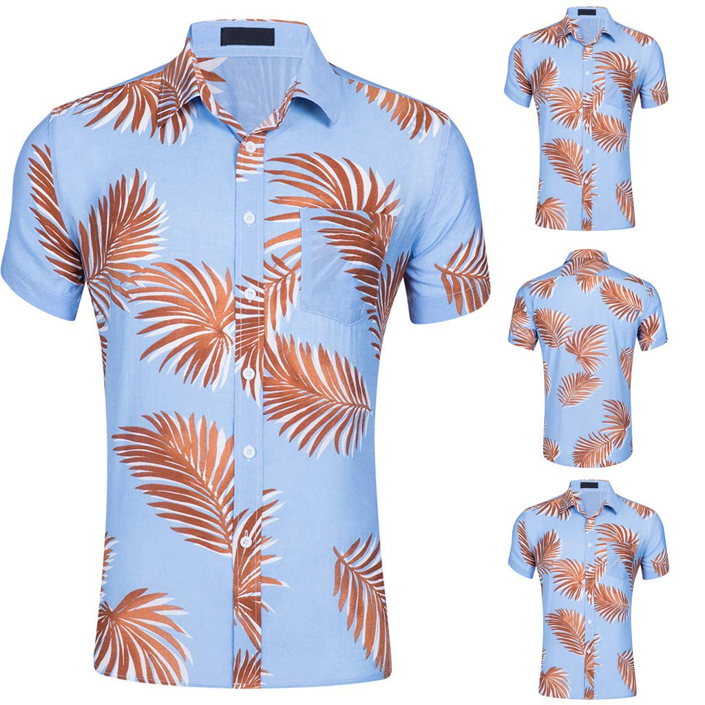 Toaimy Mens New Short Sleeves of Beach Wind Printing Fashion Cotton Short Sleeve