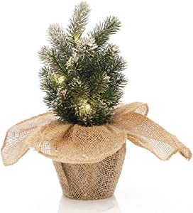 Frosted Pine Needle Tree Pre Lit Bonsai Tree with Jute Bag Decor Base Desktop Home Decoration Indoor Christmas LED Tabletop