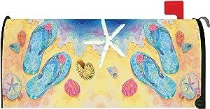 Toland Home Garden Beach Flip Flops Summer Sandal Seashell Magnetic Mailbox Cover
