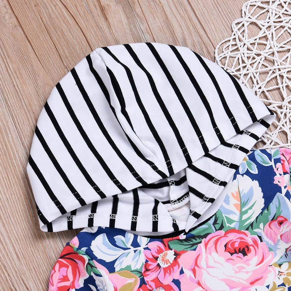 DIGOOD Toddler Baby Girls 2Pcs Outfits Autumn Clothes,Stripes Floral Hoodie Tops Drawstring Pants,for 0-24 Months Kids