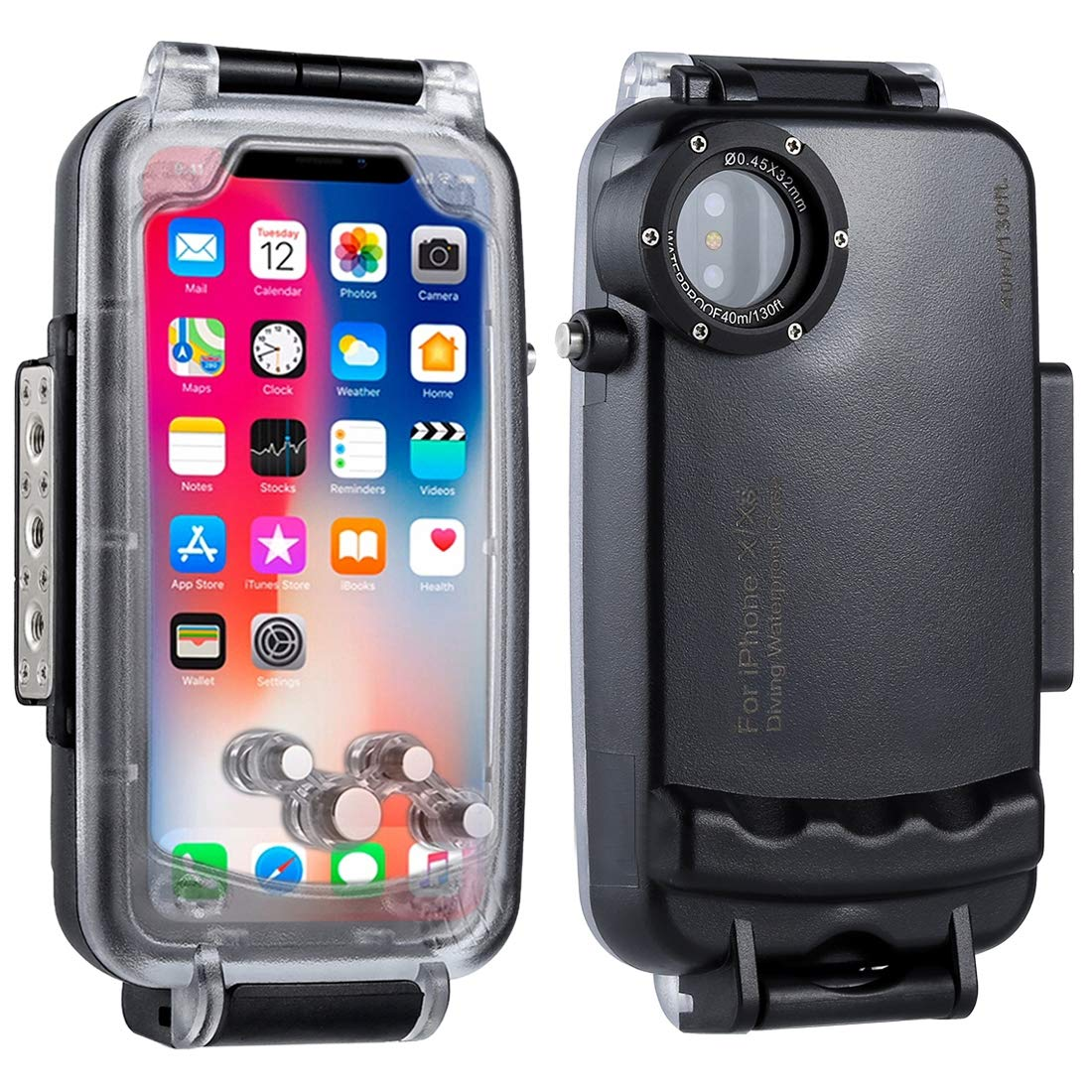 HAWEEL iPhone X/XS Underwater Housing Professional [40m/130ft] Diving Case for Diving Surfing Swimming Snorkeling Photo Video with Lanyard (iPhone X/XS, Black) by HAWEEL