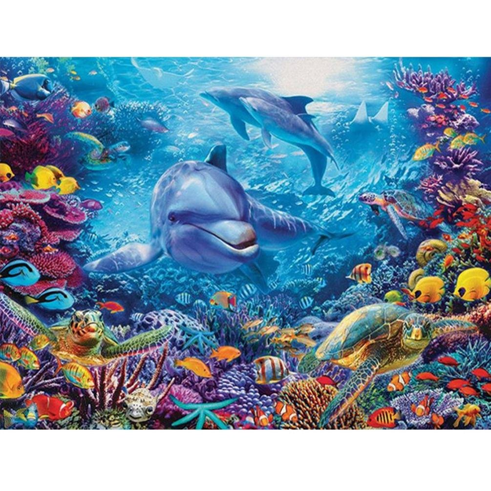 TiTCool 5D Diamond Painting by Number Kits, Colorful Seabed Full Drill 40X30CM, Diamond Embroidery Arts Pasted Craft DIY Home Decor