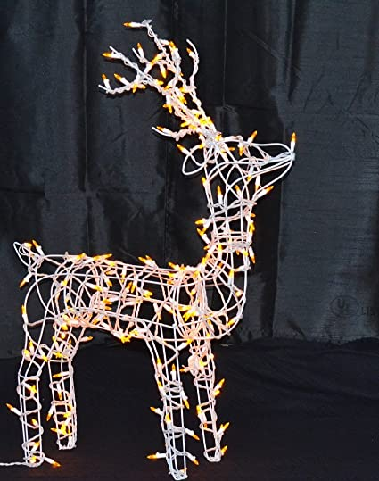 wire frame reindeer standing buck led lighted christmas decoration - Lighted Wire Christmas Decorations