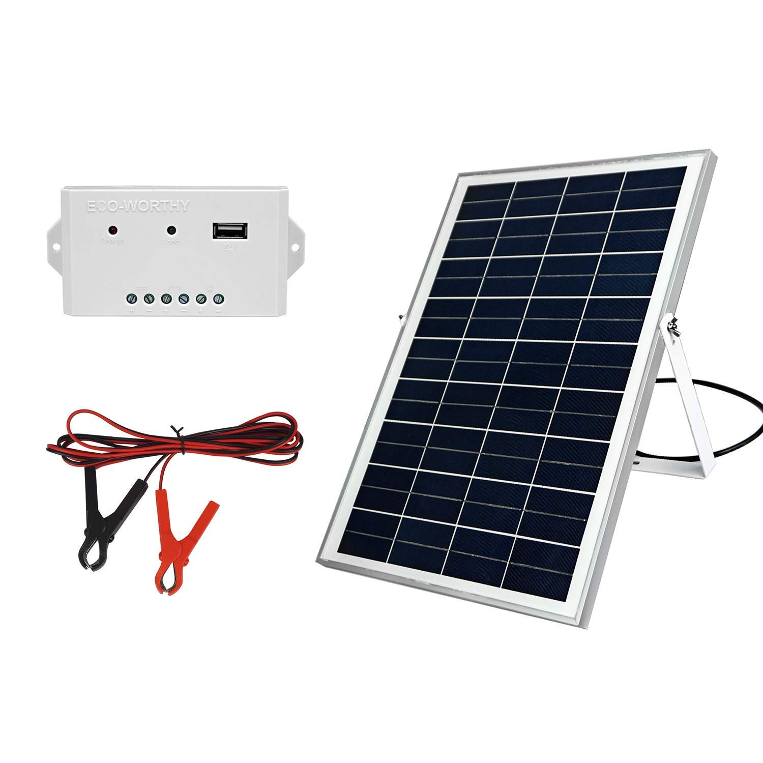 ECO-WORTHY 25W 18Volts Solar Panel Kits: 25W Solar Panel with U Bracket + 3A Charge Controller