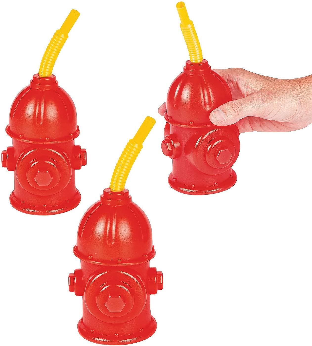 Fun Express Straw Fire Hydrant Cups with Lids - (Pack of 8) Reusable 9 oz, Red Plastic Fire Truck Party Supplies Cups and Firefighter Birthday Party Favors for Kids