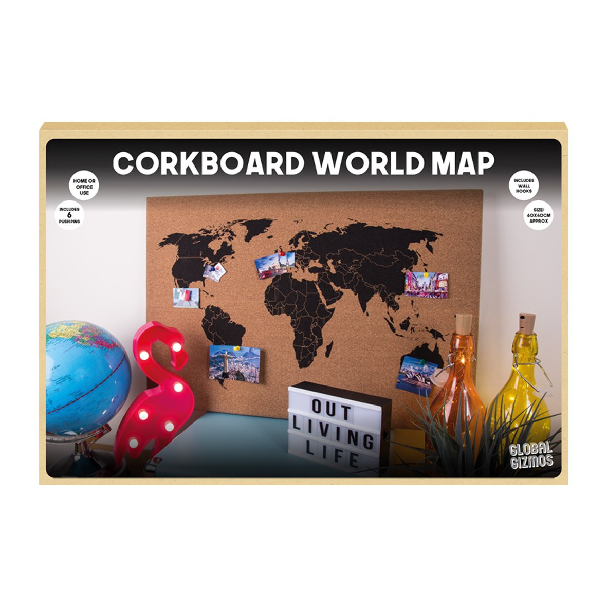 Global gizmos corkboard world map wall hanging decoration memo board global gizmos corkboard world map wall hanging decoration memo board 60x40cm including pins wood brown gumiabroncs Images