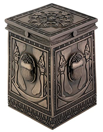 Egyptian Bronze Scarab Box Collectible Figurine Container