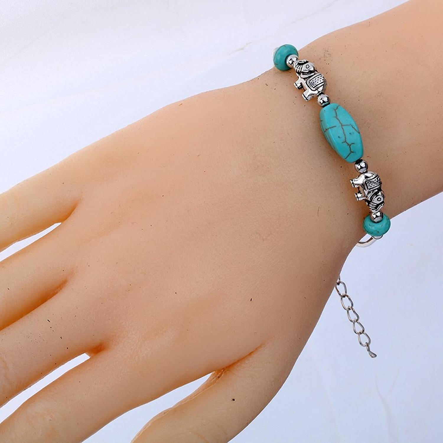 DVANIS Cute Elephant Shape Adjustable Chain Silver Tibetan Handmade Pearl Beads Bangle Bracelet