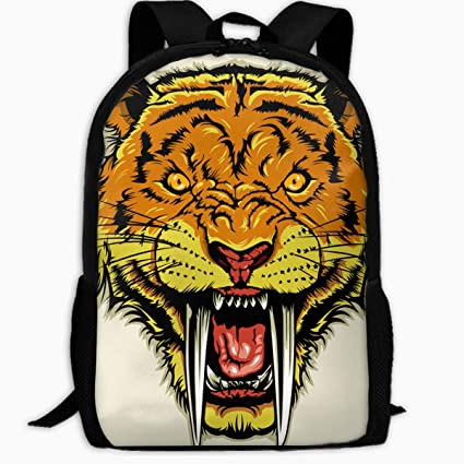 193eaec164af Duwamesva Casual Backpack- Angry Sabertooth Head Print Zipper School Bag  Travel Daypack Laptop Backpack Girls Boys