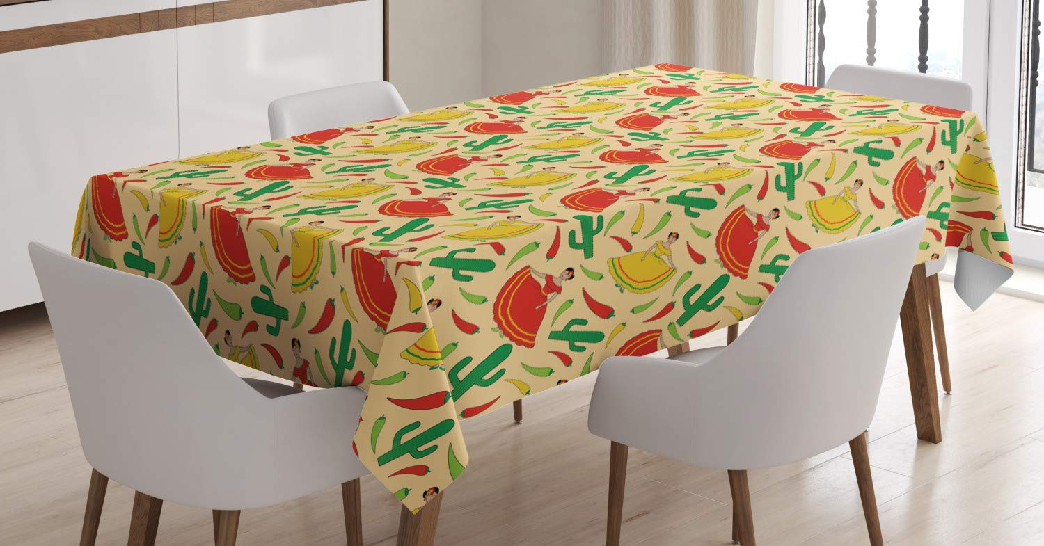 """Ambesonne Spanish Tablecloth, Dancing Mexican Women Cactus and Chili Peppers Jalapeno Latin Motif, Dining Room Kitchen Rectangular Table Cover, 52"""" X 70"""" Inches, Vermilion Yellow"""