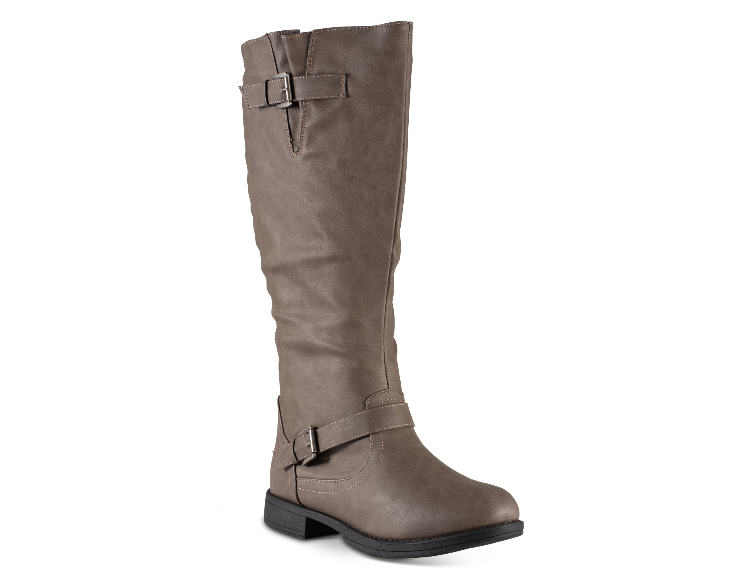 Twisted Women's Amira Wide Calf Knee-High Riding Boot- Grey, Size 9