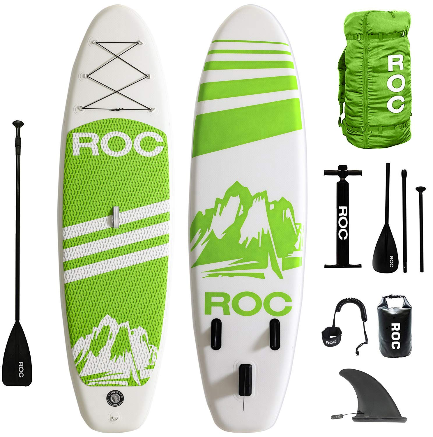 Roc Inflatable Stand Up Paddle Boards W Free Premium SUP Accessories & Backpack { Non-Slip Deck } Bonus Waterproof Bag, Leash, Paddle and Hand Pump !!! Youth & Adult (Green) by Roc
