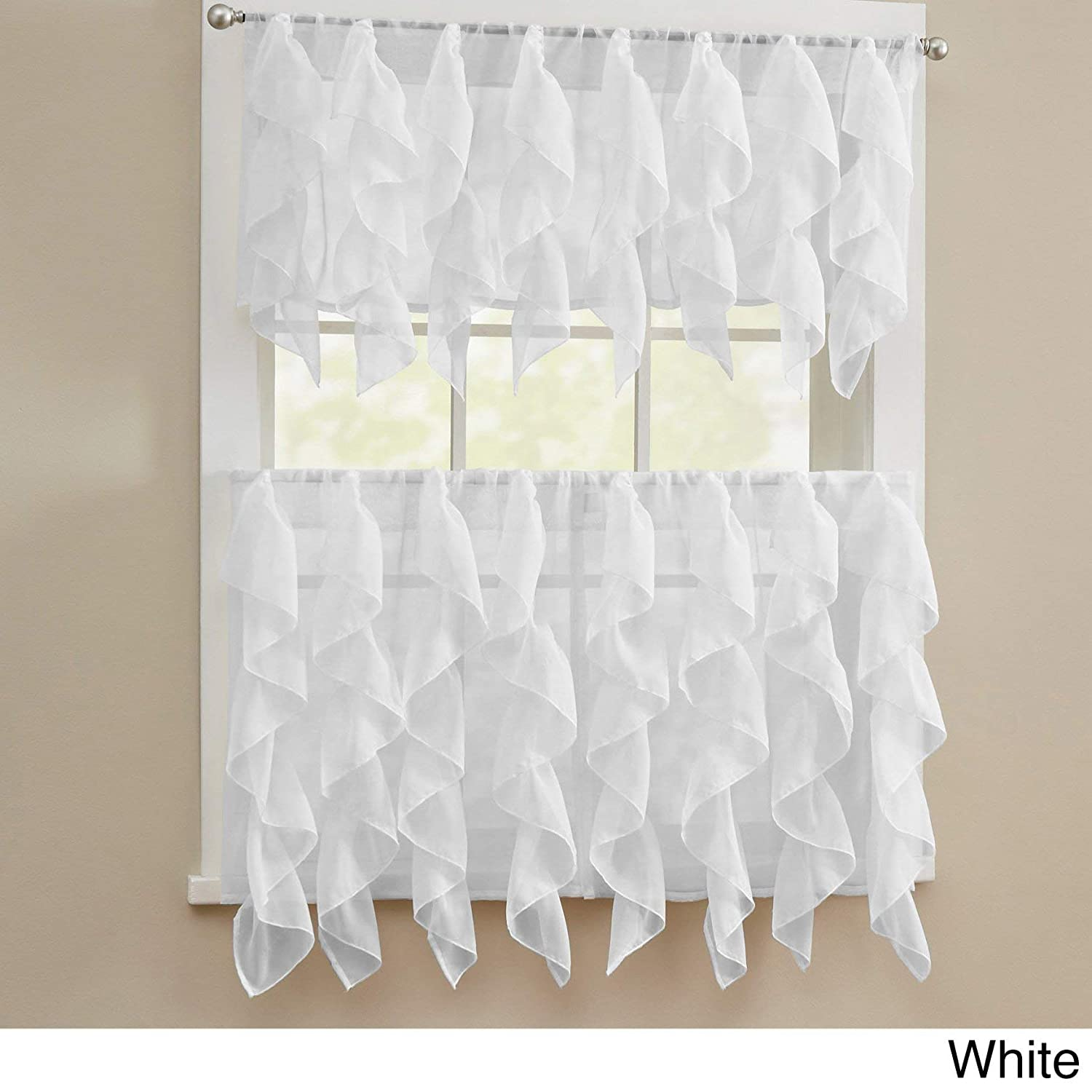 bed bath n more Chic Sheer Voile Vertical Ruffled Tier Window Curtain Valance or Tier White 56 x 24
