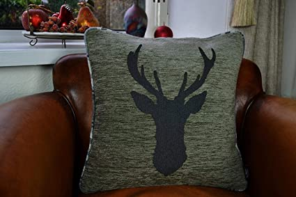 For a 16 insert. Zipped and overlocked for a professional finish Glitter stag head appliqu\u00e9 cushion cover made with Elgin grey tartan