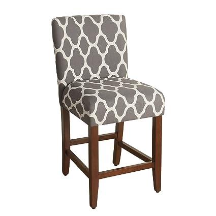 Amazoncom Homepop Upholstered Barstool 24 Inch Grey And Cream