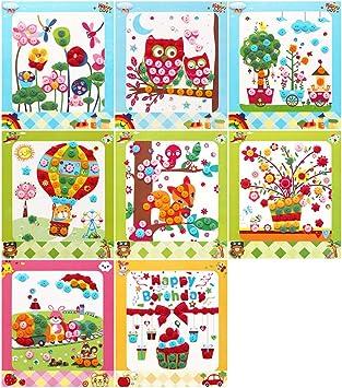 Lovyan - Juego de 8 Pegatinas de Mosaico para Manualidades con Botones y Diamantes, B: Amazon.es: Juguetes y juegos