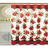 Seasonu0027s Greetings 13 Piece Shower Curtain With Crystal Roller Shower Hooks  (13, Poinsettia Flower