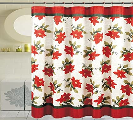 Daniels Bath Byound Poinsettia 13 Piece Shower Curtain Ivory Red