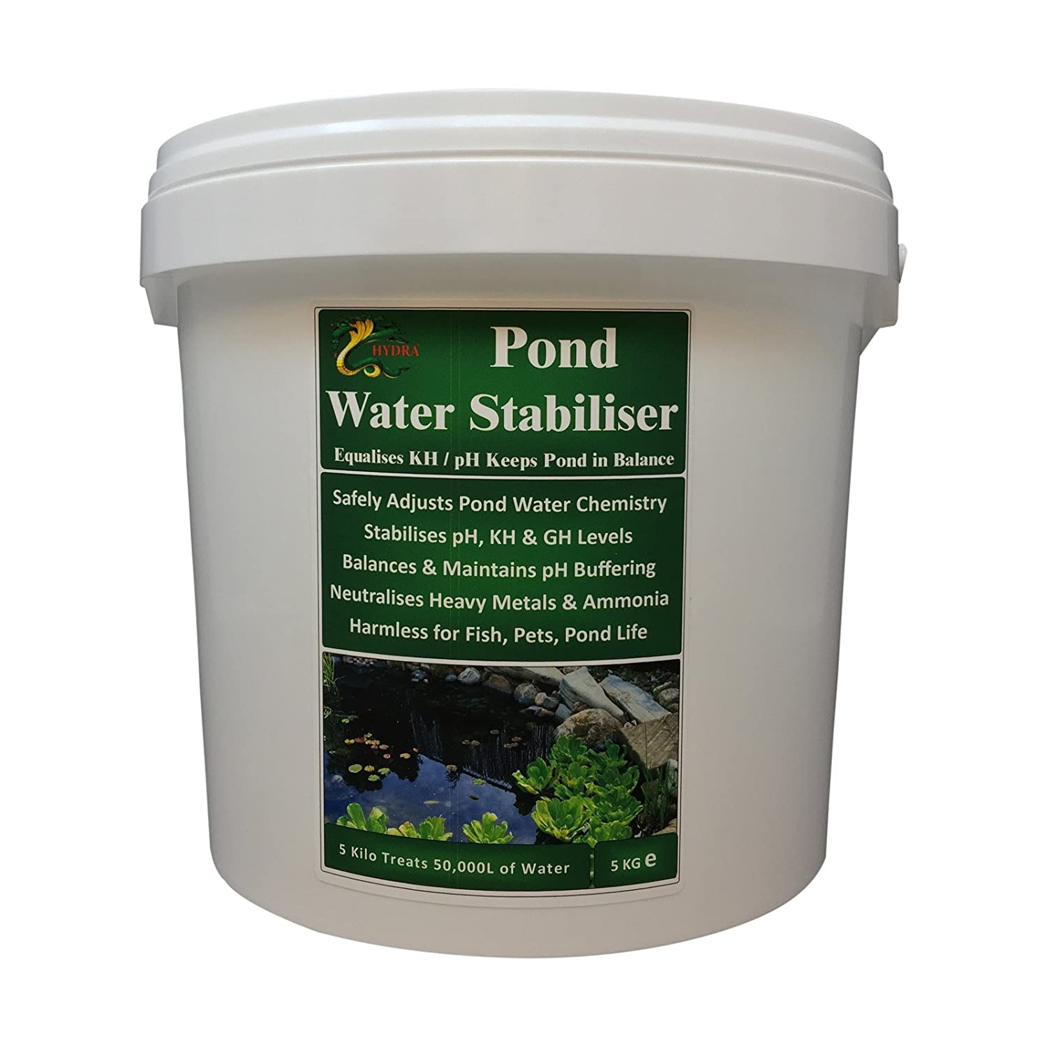 HYDRA POND WATER STABILISER 5KG Equalises KH, pH & GH Levels to Balance (5Kg Treats Up to 50,000L) Of Water Hydra International Ltd
