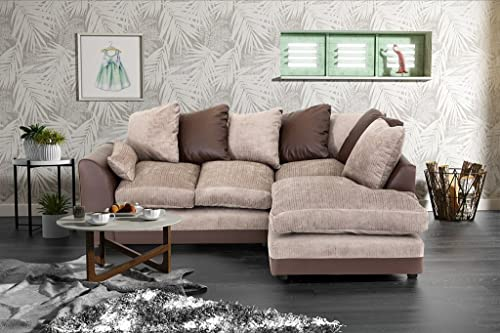 Dylan Byron Corner Group Sofa Brown And Beige Right Or Left (Brown Right)