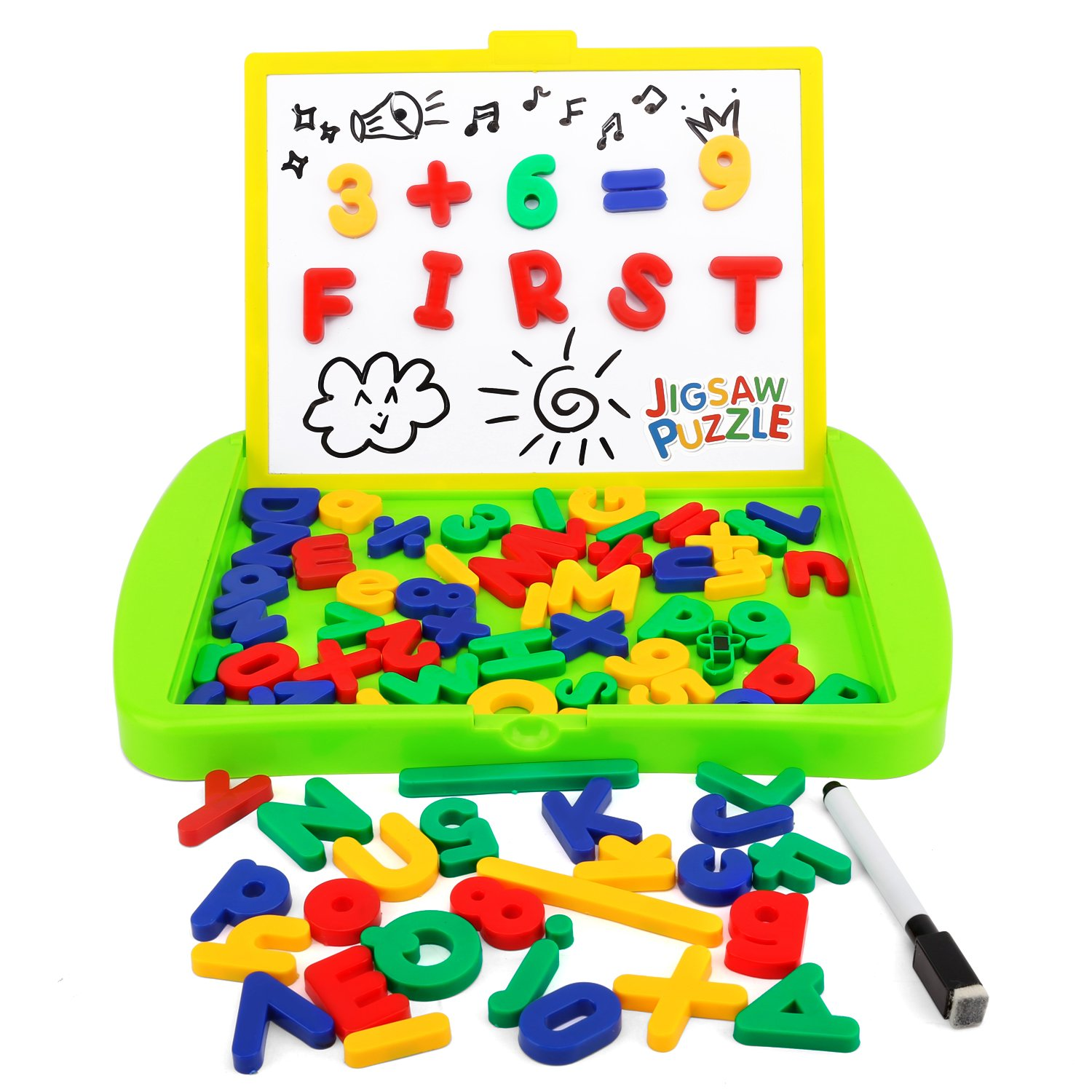 Zooawa Magnetic Easel Sketchpad Numbers Letters, [84 Pcs] Drawing Writing Whiteboard Educational Learning Toy Kids Over 3 - Colorful
